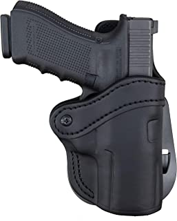1791 GUNLEATHER Sig P320c Paddle Holster - OWB CCW Holster - Right Handed Leather Gun Holster for Belts - HK VP9sk, HK P2000, HK 45c, SIG P229c and Most compacts with Rails (BH2.4S-PD)