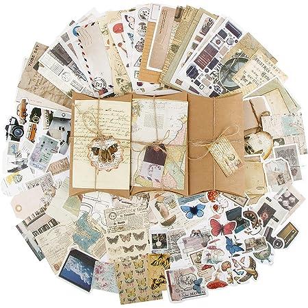 90pcs Autocollants de Scrapbooking Rétro Gommettes étiquettes, Stickers Vintage Scrapbooking DIY Album Photo pour Journal Artisanat Scrapbooking