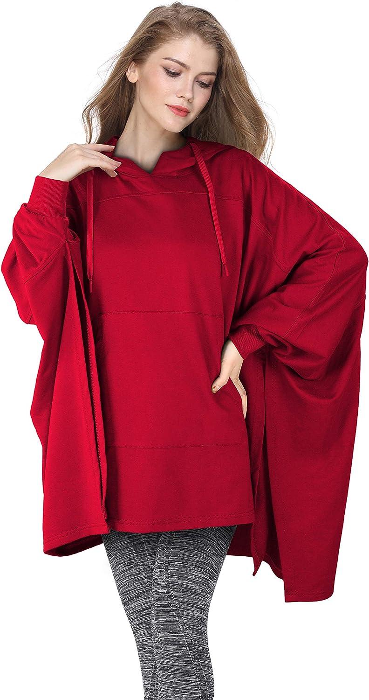 Tirrinia Womens Summer Sweatshirt Batwing Sleeve Casual Cool Crop Top Hoodie Loose Pullovers