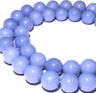[ABCgems] Glow in Dark Mexican Blue Aragonite AKA Cave Calcite (Extremely Rare- Exquisite Color) 8mm Smooth Round Beads for Beading & Jewelry Making