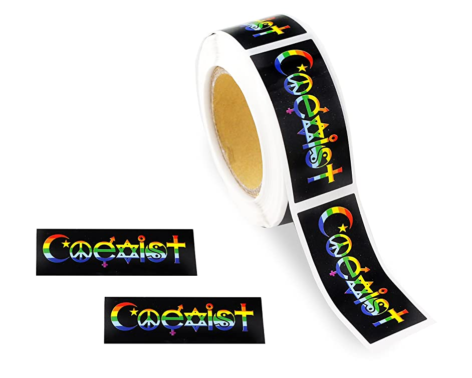 250 Gay Pride Rainbow Stickers on a Roll - Rectangular Coexist (250 Stickers) - Support LGBT Causes