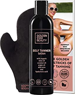 Self Tanner with Tanning Mitt - Sunless Tanning Lotion with Organic Oils Gradual Body Bronzer for Light or Medium Tan 8.0 ...