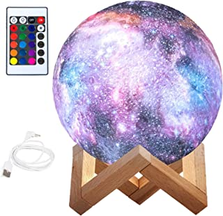 BRITOR Moon Lamp Night Light,16 Colors LED Moon Light with 4 Modes USB Charging and Wooden Stand,Remote & Touch Control(15...
