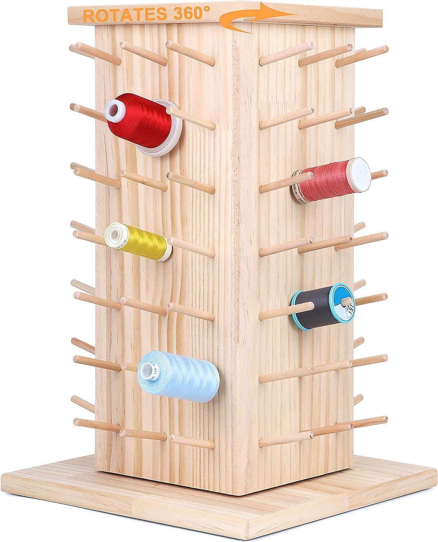 New brothread 84 Spools 360° Thread Rotating Fully Columbus Mall Overseas parallel import regular item Wooden Rac
