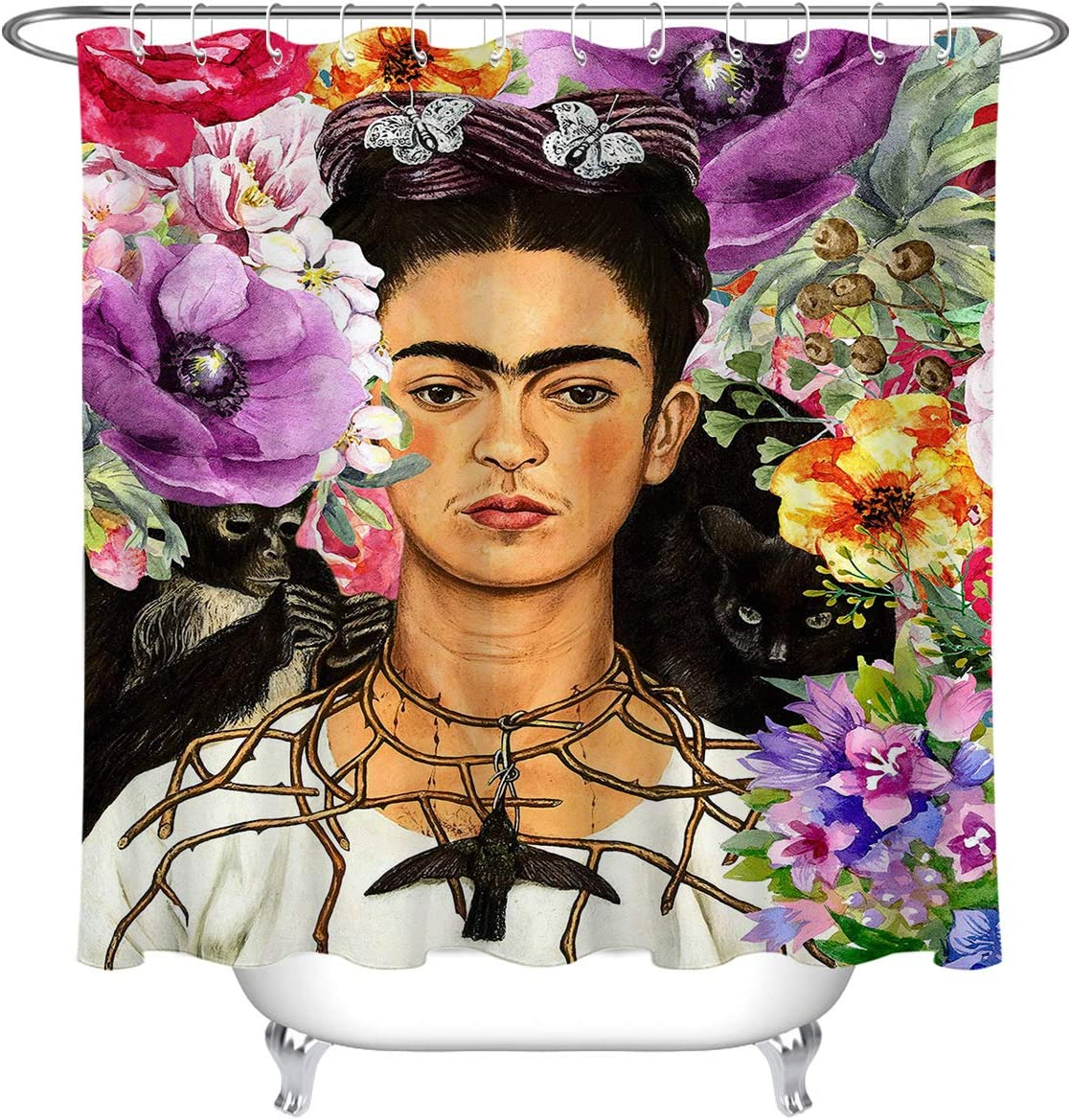 LB Mexican Artist Woman Shower for Watercolor Max 64% OFF Curtains Great interest Bathroom