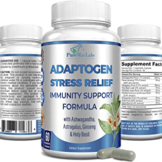 Adaptogen Stress Relief Adrenal Immunity Support Formula, 60 Capsules, Adrenal Support with Ashwagandha, Astragalus, Ginse...