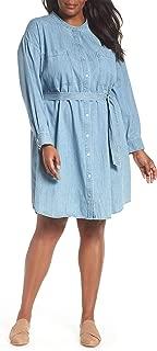 Eileen Fisher Plus BLSTR Organic Cotton Drapey Denim Mandarin Collar Shirt Dress Size 1X MSRP $228