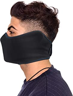 Omeneex Half Face Mask with Earloop Velcro Windproof for Men Women for Skiing Snowboarding Motorcycling Winter Outdoor Sports Highly Breathable (Black-Navy blue)