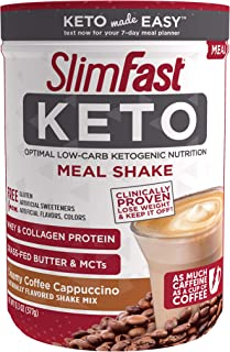 SlimFast Keto Meal Replacement Shake Powder, Creamy Coffee Cappuccino, 13.3 Oz