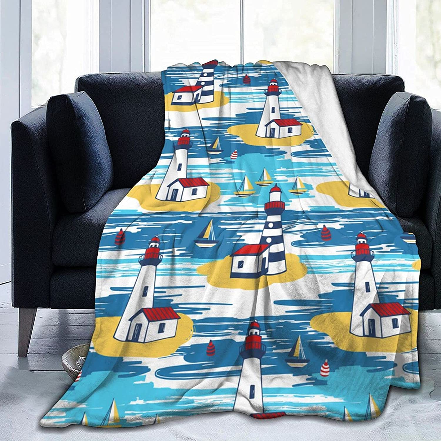 Colorful Lighthouse Landscape 2021new shipping free Fleece Fle Blanket Soft-Warm Limited time sale Throw