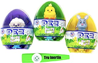 Pez Mini Dispensers Easter Eggs with 2 Individually Wrapped Pez Rolls - Lamb, Bunny, Chick - Easter Basket Candy (3 Pack)