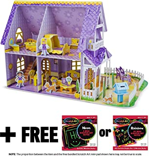 Melissa & Doug Pretty Purple Dollhouse: 3D Puzzle & Playset in One & 1 Scratch Art Mini-Pad Bundle (09461)