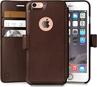 iPhone 7 Wallet Case, Durable and Slim, Lightweight with Classic Design & Ultra-Strong Magnetic Closure, Faux Leather, Dark Brown, Apple 7 (2016)