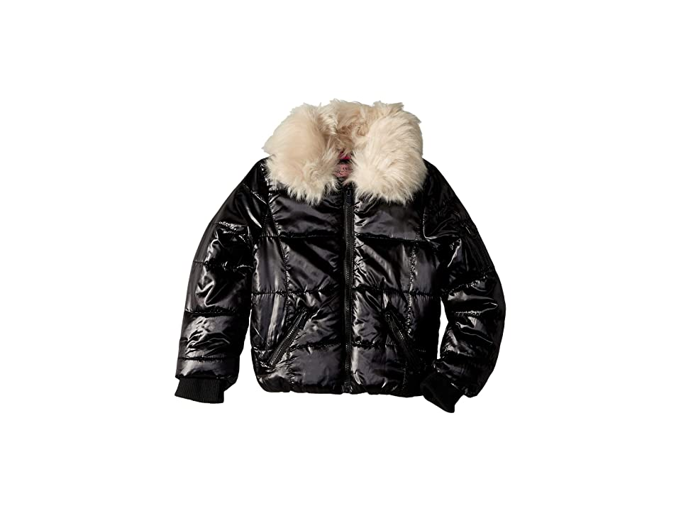 Urban Republic Kids Emma Puffer Jacket w/ Cream Faux Fur Collar (Little Kids/Big Kids) (Black) Girl