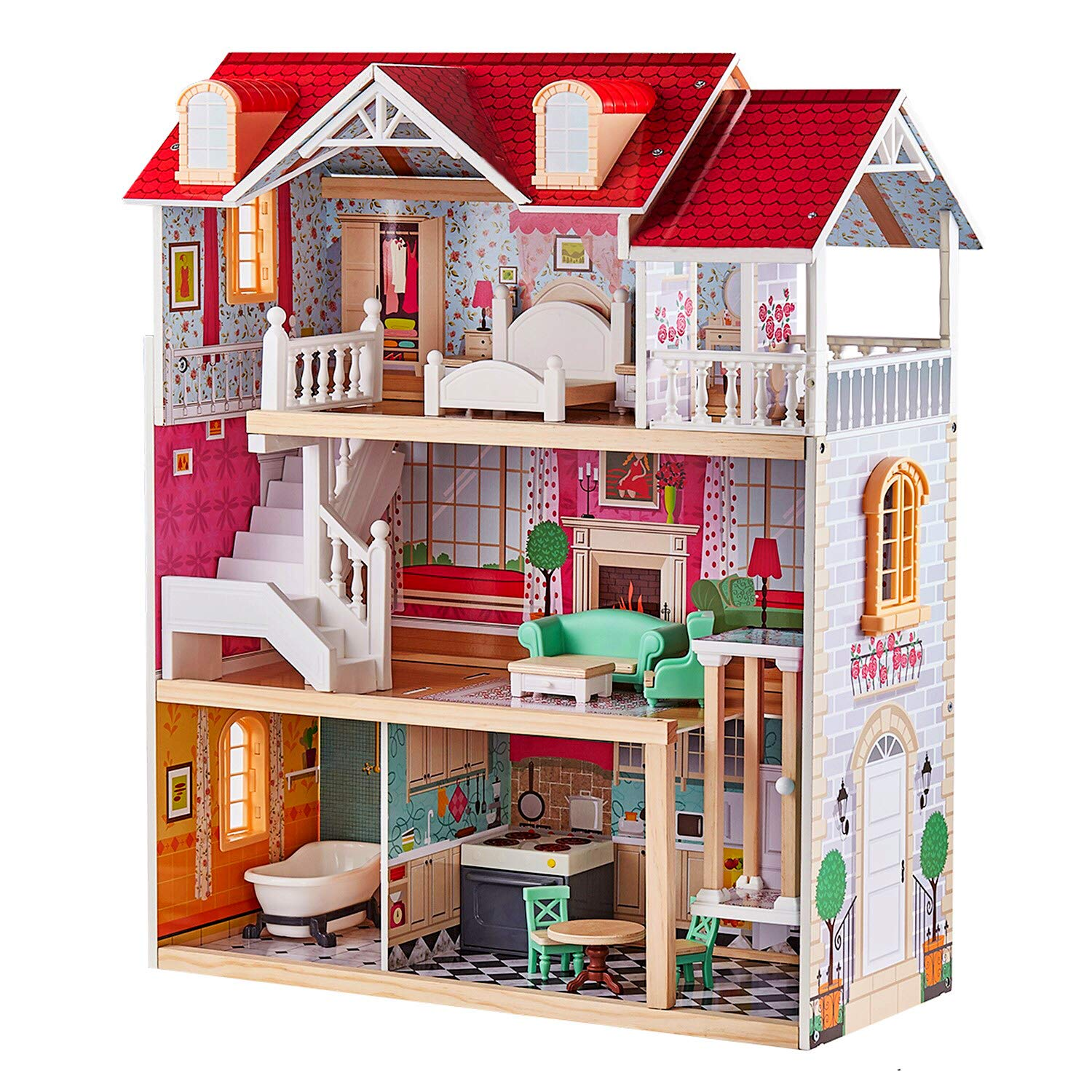 TOP BRIGHT Wooden Dollhouse Elevator