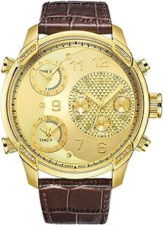 ساعة فاخرة للرجال طراز G4 من جيه بي دبليو، مع سوار جلدي ونطاقات زمنية متعددة ومرصعة بـ 16 ماسة