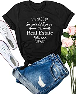 ZXH Women I'm Made of Sugar Spice and Real Estate Advice Letter T-Shirts Casual Short Sleeve Tops