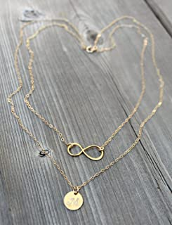 Layered infinity Initial Necklace, 14Kt Gold Filled personalized stamped disc Double chain Monogram Letter, 24k gold vermeil, two chains,2 chains, hand made
