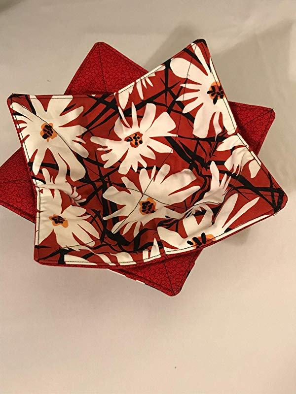 Set Of Two Reversible Bowl Cozies Black Red And White Flowers Bowl Holders 236