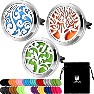 Tatuo 3 Pieces 316L Stainless Steel Car Aromatherapy Vent Clip Locket Essential Oil Diffuser Air Freshener and 48 Pieces Replacement Felt Pad for Car Decoration