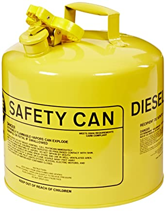 """Eagle UI-50-SY Type I Metal Safety Can, Diesel, 12-1/2"""" Width x 13-1/2"""" Depth, 5 Gallon Capacity, Yellow: image"""