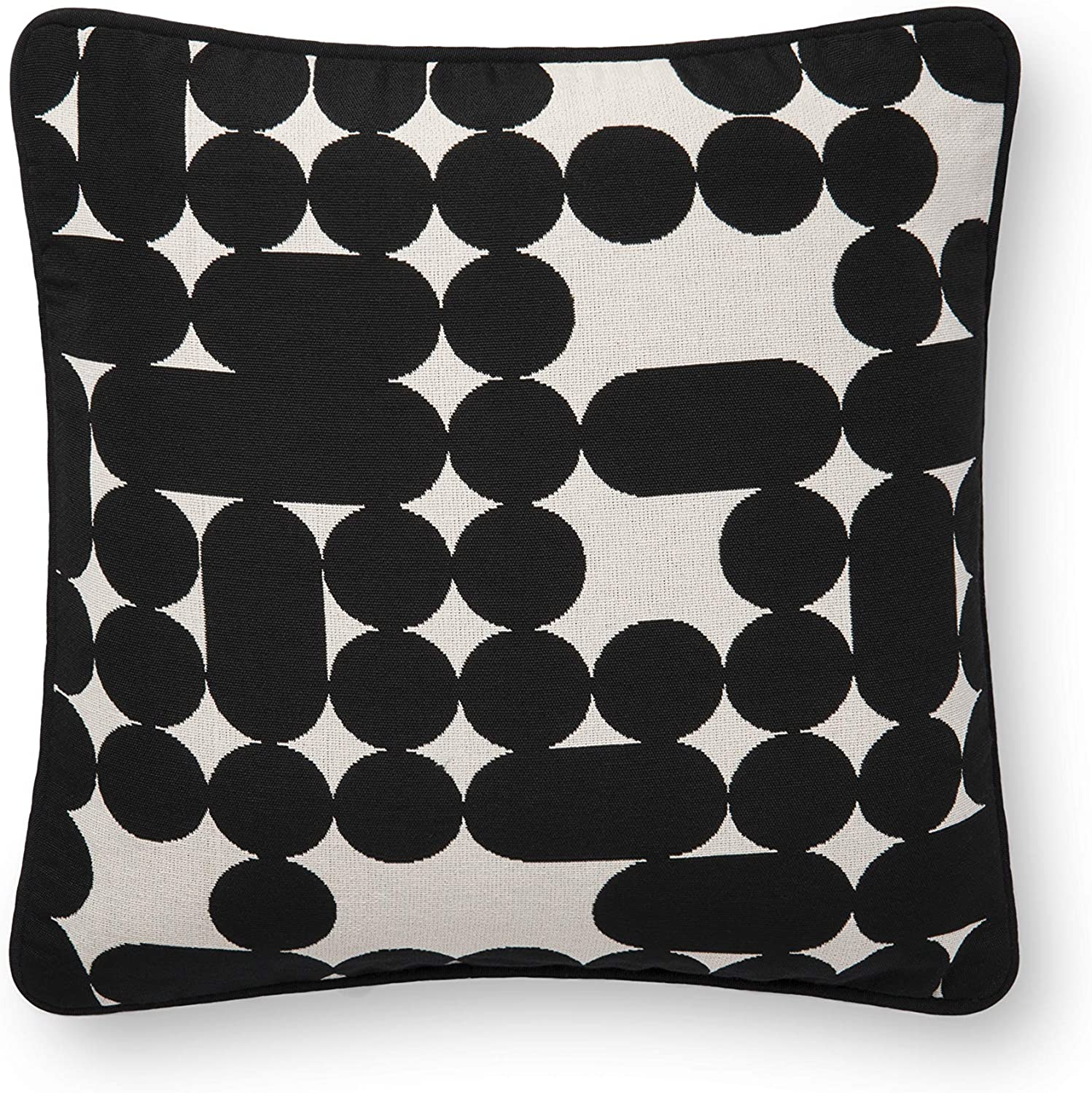 Now House by Jonathan Adler Capsule and Dots Jacquard Pillow, Black and White