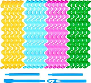 Duufin 24 Pcs Wave Hair Curler Rollers 65 Centimeters Heatless Water Ripple Curlers Magic Hair Rollers DIY Hair Style Tools Set for Women and Girls (Bonus: 1 Pc Hook)