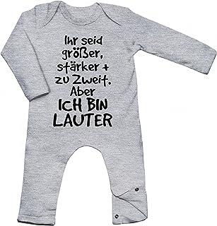 Shirt Happenz Ihr Seid Größer, stärker  Zu Zweit. Aber Ich Bin Lauter Babybody Liebe Baby Familie Langarm Langärmliger Strampler