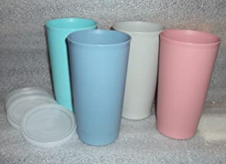 Vintage Tupperware Tumblers with Seals Country Pastels (1980's)