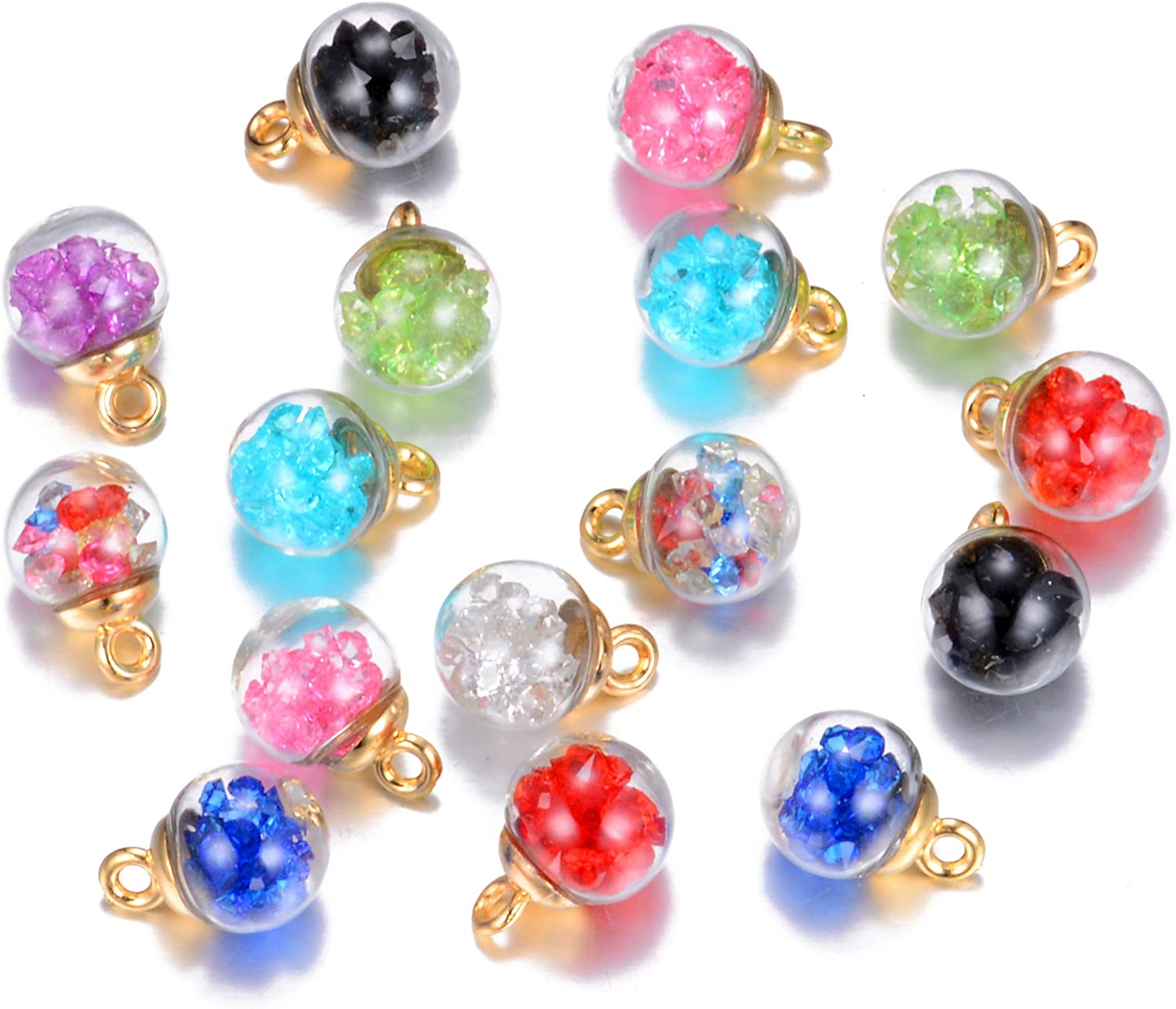 Max 74% OFF 18pcs 16mm Colorful Mix Max 81% OFF Lots Assorted-Colors Antique Charms Glas
