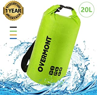 Overmont Dry Bag 20L Roll Top Sack SUP Pump Adaptor Valve Adapter Floating Waterproof Keeps Gear Dry for Kayaking, Rafting, Boating, Swimming, Camping, Hiking, Beach, Fishing