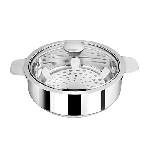 NanoNine Chapati Pot Double Wall Insulated Stainless Steel Serve Fresh Roti Casserole with Glass Lid, 1.25 L, 1 pc