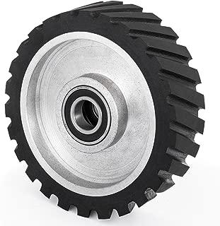 Happybuy 10x2inch Belt Grinder Rubber Wheel Serrated Rubber Contact Wheel 6206 Bearing Belt Grinder Wheel for 2x72inch Knife Making Grinder