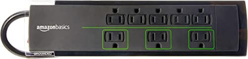 Amazon Basics 8-Outlet Power Strip Surge Protector | 4,500 Joule, 6-Foot Cord