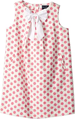 Dots On Tweed Pleat Bow Dress (Toddler/Little Kids/Big Kids)