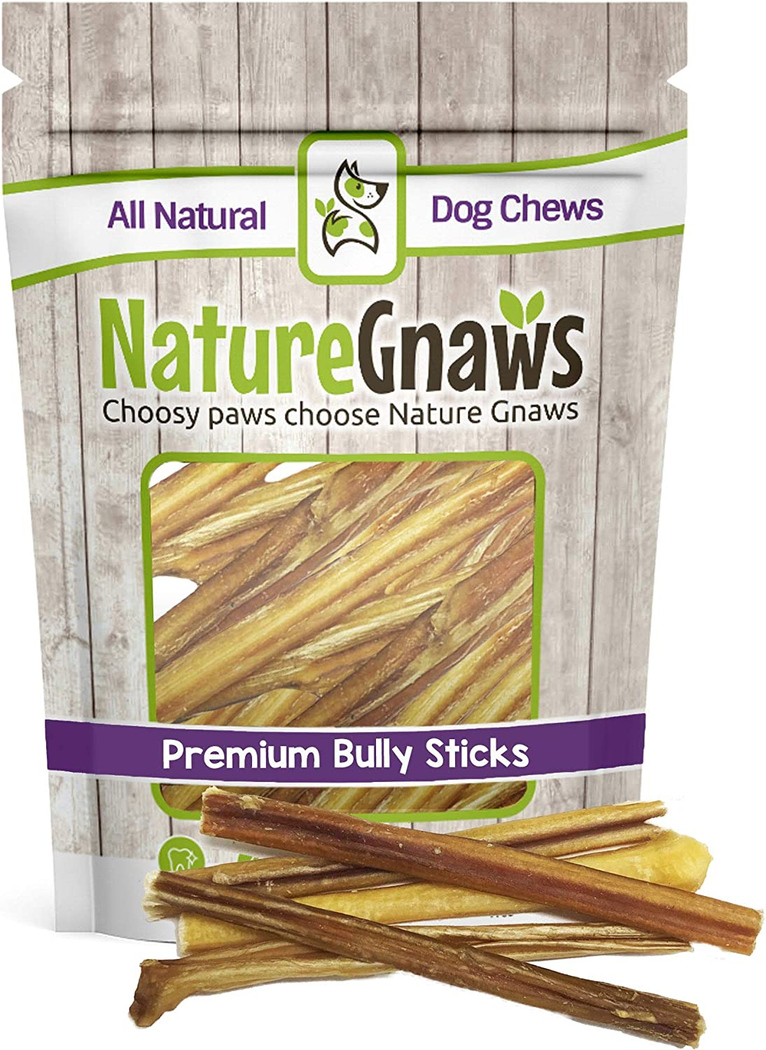 Nature Gnaws Extra Thin Bully Sticks 56  (25 Pack)  100% AllNatural GrassFed FreeRange Premium Beef Dog Chews