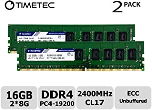 Timetec Hynix IC 16GB KIT (2x8GB) DDR4 2400MHz PC4-19200 Unbuffered ECC 1.2V CL17 1Rx8 Single Rank 288 Pin UDIMM Server Memory RAM Module Upgrade (16GB KIT (2x8GB))