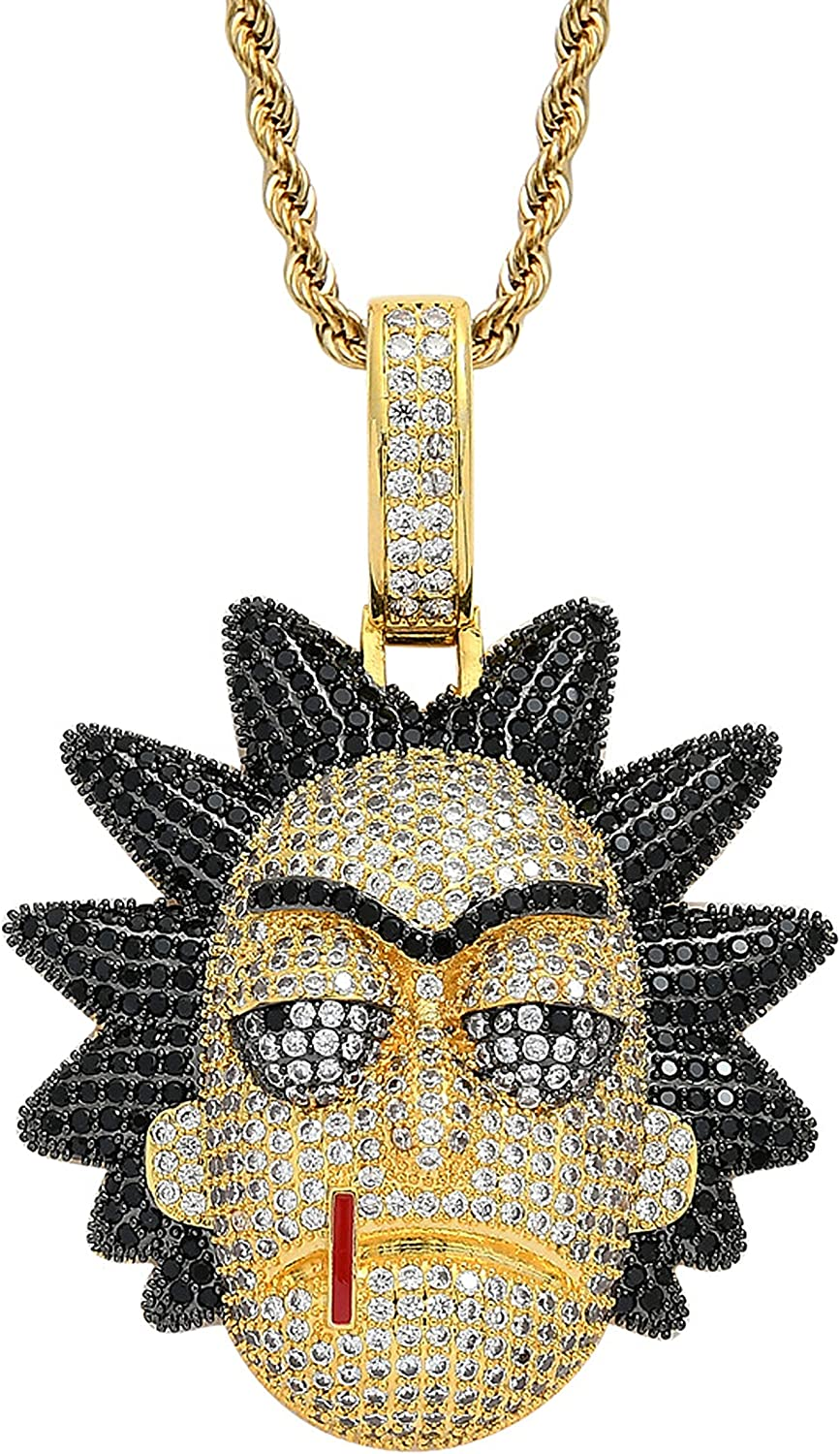 Marsheng rick and morty Rick 18k Gold Cubic Zirconia Stone Hippop Pendant Fashion Accessory Necklace
