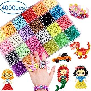 MEIRUIER 4000pcs Regalo Chico Chica Niños DIY Educativos Artesanía Craft Kits Abalorios Cuentas de Agua 4000 Perlas Kit Abalorios 24 Colors(6 Jewel)