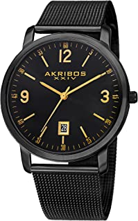 Akribos XXIV AK858 Omni Mens Casual Watch - Sunburst Effect Dial - Quartz Movement - Stainless Steel Mesh Strap
