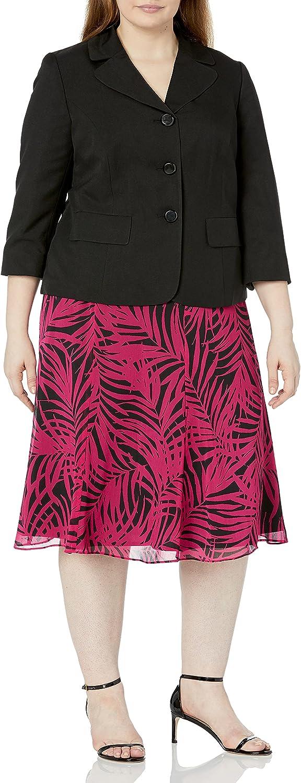 Le Suit Women's Plus Size Three-Button Glazed Jacket and Skirt Two-Piece Suit Set, Black/Deep Rose Multi, 14W