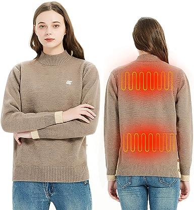 EEIEER Jersey Calefactable, Jersey Hombre Termico, Camisa Calefactable Mujer, Suéter Calefactable con Temperatura Térmica Ajustable, Jerséis Cuello ...