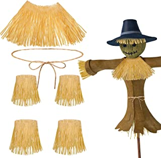 12 Pieces Scarecrow Straw Kit Scarecrow Costume Accessories Include 10 Raffia Neck Arm and Ankle Tie and 2 Scarecrow Rope ...