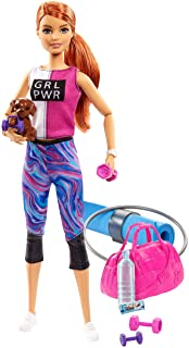 Barbie Fitness Doll, Red-Haired, with Puppy and 9 Accessories, Including Yoga Mat with Strap, Hula Hoop and Weights, Gift ...