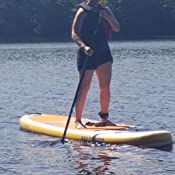 """Designed in Australia Bay Sports 108 Inflatable SUP Board Basix Series iSUP with Performance Fibreglass 3-Piece Adjustable Paddle and FCS II Connect GF /""""Tool-Less/"""" Centre Fin"""
