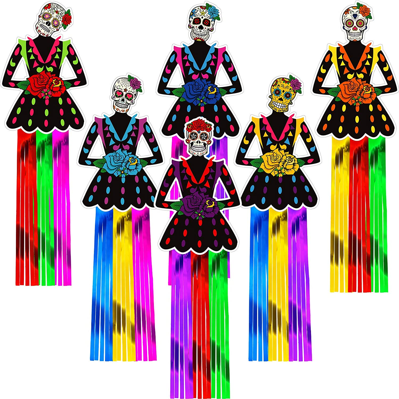 6 Pieces Dia De Muertos Day of The Dead Sugar Skull Hanging Decorations for Dia De Los Muertos Party Decor Halloween Party Supplies