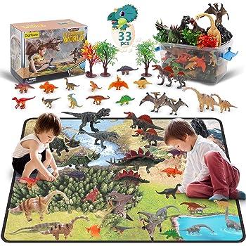 Vanplay Dinosaure Jouet 52 pcs et Tapis de Jeu Mod/èle Ensemble Figurine Set Educatif Jouets Cadeaux de Anniversaire pour Enfants