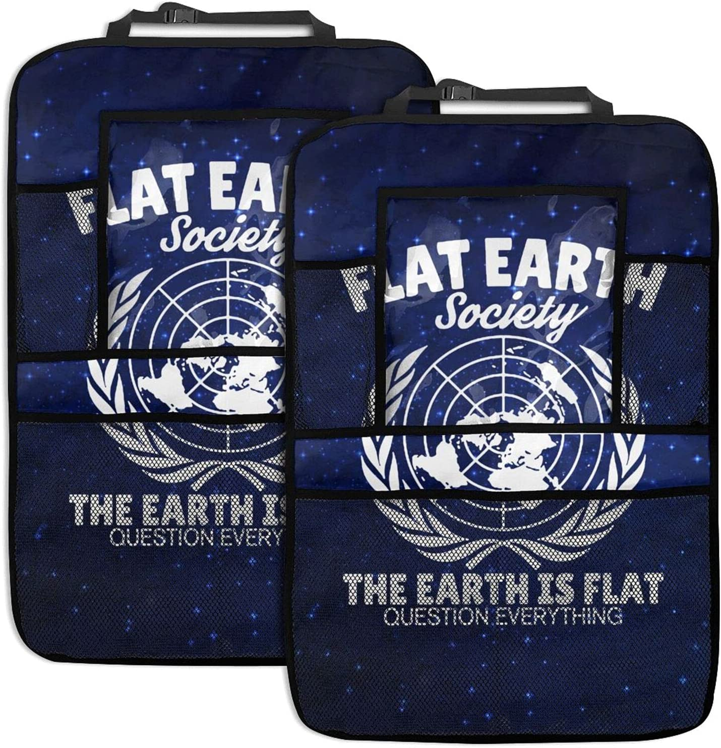 Free shipping anywhere in the nation Flat Earth 2pc Car Backseat Seat Back Kick Organizer Protectors Brand Cheap Sale Venue