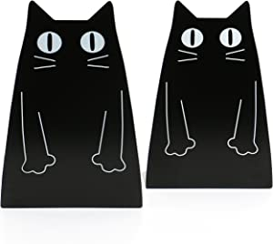 Fasmov Cartoon Cat Bookends Nonskid Bookend,1 Pair(Black)