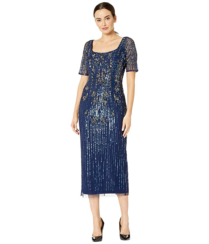 Vintage 1920s Dresses – Where to Buy Adrianna Papell Beaded Mesh Boot Length Dress Light Navy Womens Dress $299.00 AT vintagedancer.com